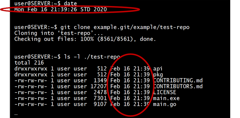 Git doesn't care about date/times
